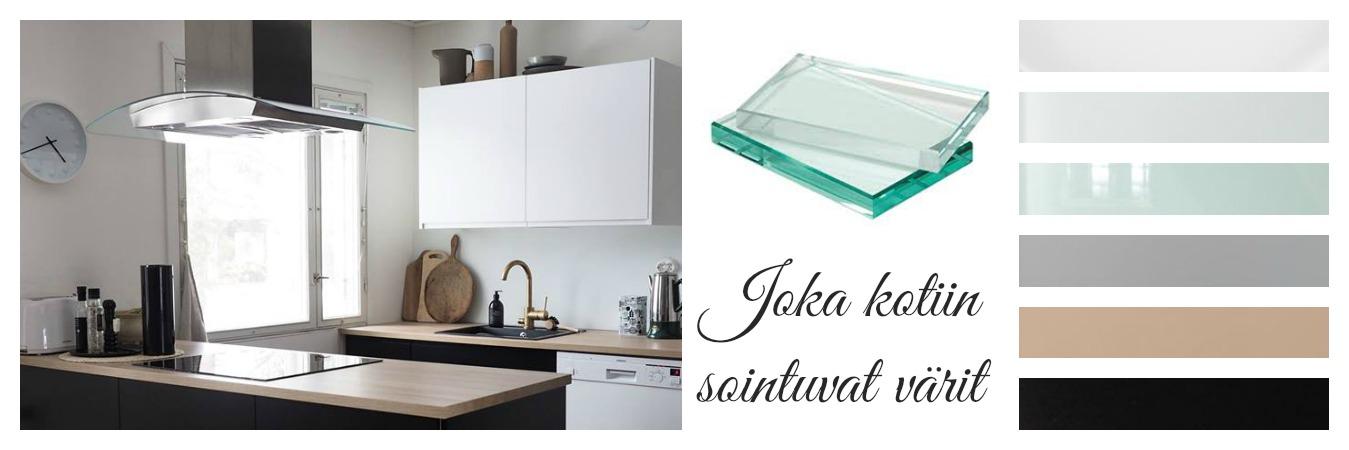 Keittiön välitilan lasit määrämittaan työstettynä  LasitKotiin fi, Lasipiha